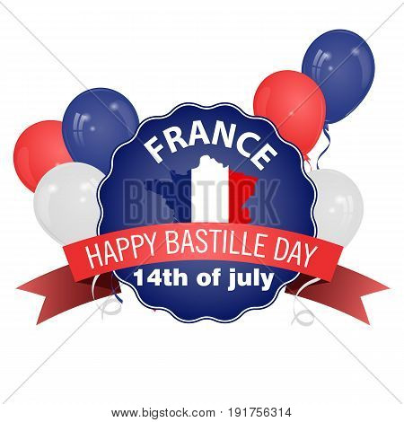 Happy Bastille Day July 14. Viva France's national day. Vector Illustration. Balloons. Suitable for the design of your poster banner campaign and a postcard.