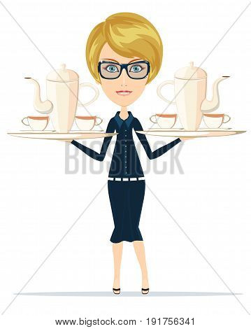 Waitress serving coffee or tea. Stock vector illustration for poster, greeting card, website, ad, business presentation, advertisement design