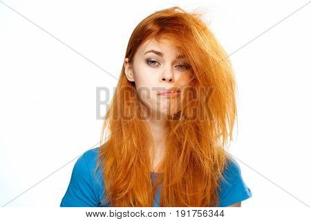 Woman with tangled hair, woman on isolated background.