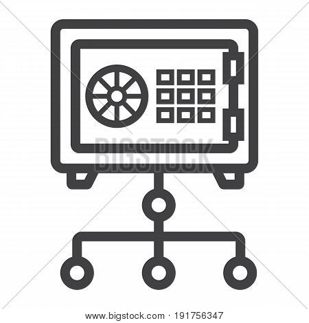 Network safe vault line icon, security and strongbox, vector graphics, a linear pattern on a white background, eps 10.