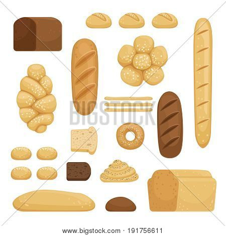 Bakery products. Vector illustration of different breads in cartoon style.Bakery bread food for breakfast