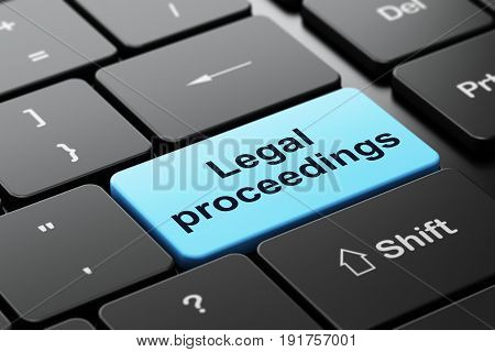Law concept: computer keyboard with word Legal Proceedings, selected focus on enter button background, 3D rendering