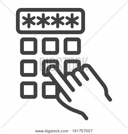Hand finger entering pin code line icon, unlock and password, vector graphics, a linear pattern on a white background, eps 10.
