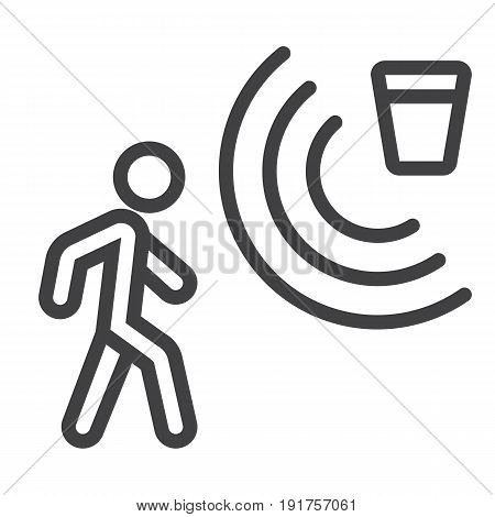 Motion detector line icon, security and guard, vector graphics, a linear pattern on a white background, eps 10.