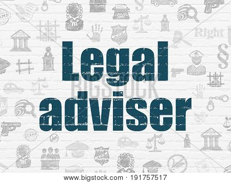 Law concept: Painted blue text Legal Adviser on White Brick wall background with  Hand Drawn Law Icons