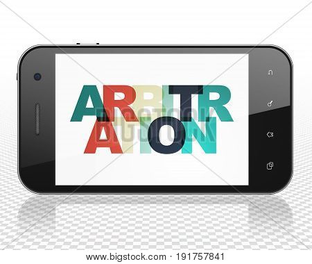 Law concept: Smartphone with Painted multicolor text Arbitration on display, 3D rendering