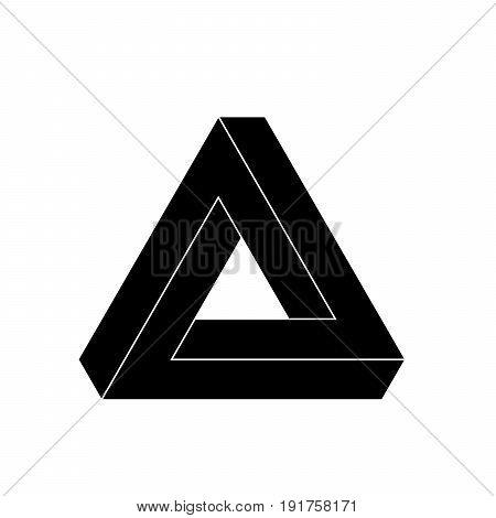 Penrose triangle icon. Geometric 3D object optical illusion. Black silhouette vector illustration.