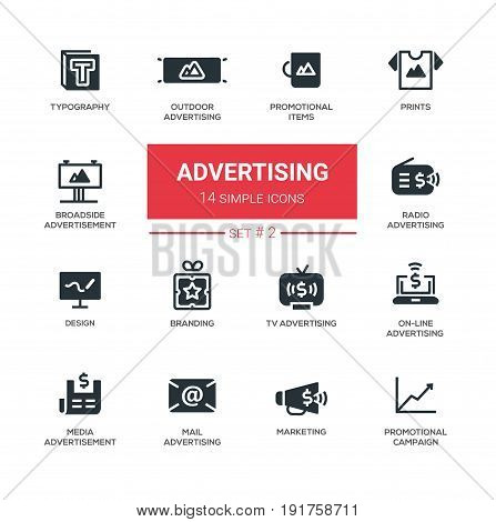 Advertising modern vector plain simple icons and pictograms set. Typography, outdoor, boadside, media advertising, design, promotional items, prints, branding, marketing, campaign