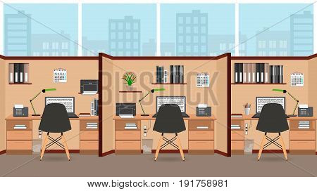 Interior office room flat design with big window including three isolated work spaces with furniture. Flat style vector illustration.