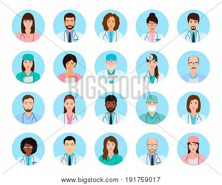 Avatars characters doctors and nurses set. Medical people icons of faces on a blue background. Flat style vector illustration.