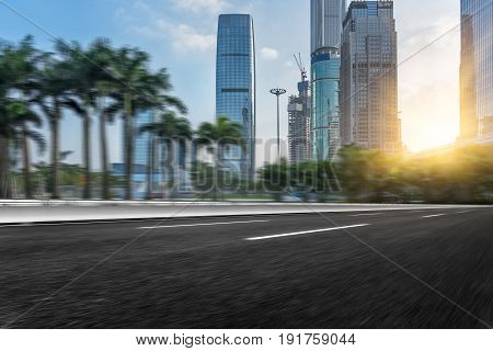 Empty urban asphalt street, shot in Shanghai, China .