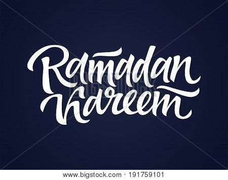 Ramadan Kareem - vector hand drawn brush pen lettering design image. Black background. Use this high quality calligraphy for your banners, flyers, greeting cards. Present the ninth month the best way