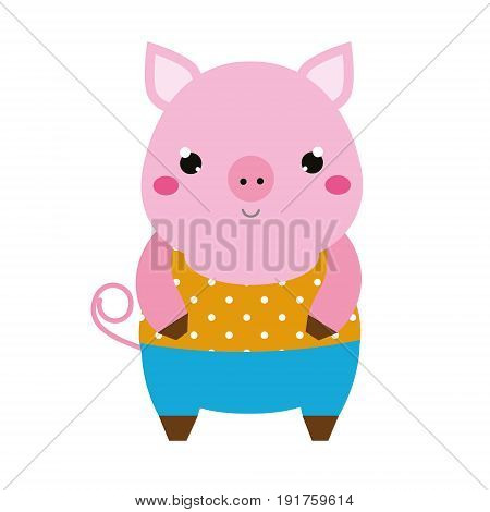 Cute pig. Children style isolated design element. Cartoon kawaii animal character. Vector illustration