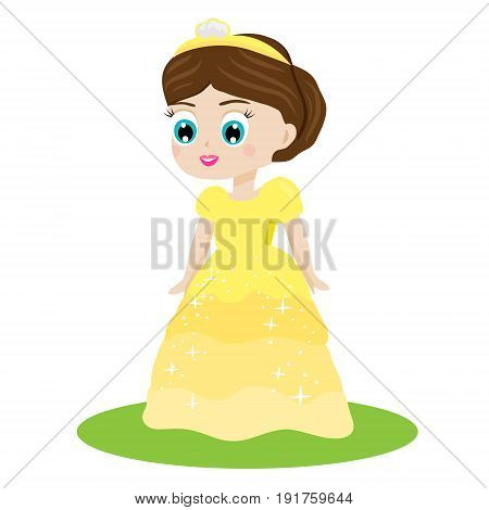 Cute kawaii fairy tale princess in yellow dress and crown. Girl in queen costume. Cartoon style vector illustration clip art