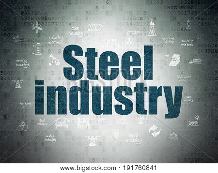 Industry concept: Painted blue text Steel Industry on Digital Data Paper background with  Hand Drawn Industry Icons