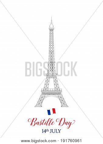 Bastille Day 14 July . French Eiffel Tower typography and flag
