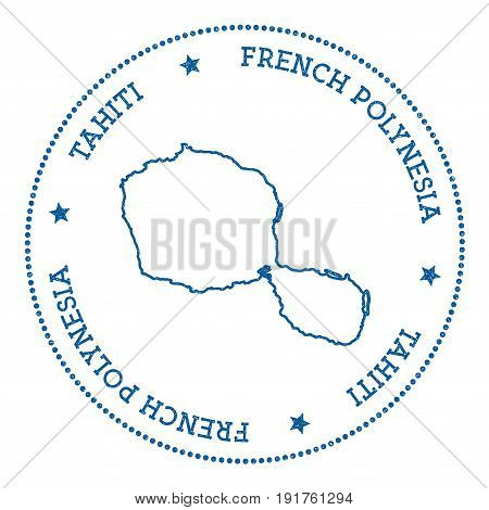 Tahiti Map Sticker. Hipster And Retro Style Badge. Minimalistic Insignia With Round Dots Border. Isl