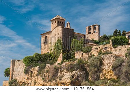 A view of the ancient castle from the beach Tamarit, Tarragona