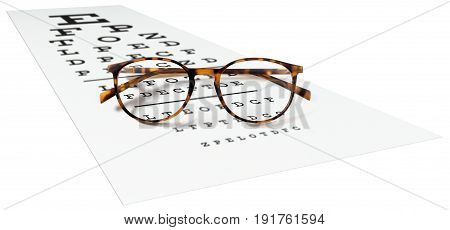 spotted eyeglasses on eyesight test chart isolated on white. eye examination ophthalmology concept