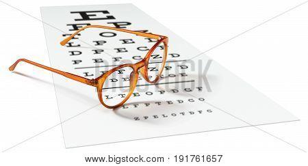 orange eyeglasses on visual test chart isolated on white. Eyesight concept