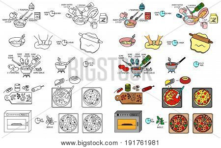 Recipe Pizza vector instruction manual illustration sketch meal food