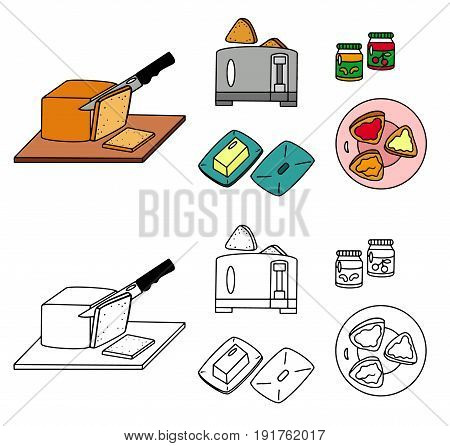 Recipe Toasts instruction manual vector illustration sketch meal food
