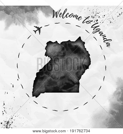 Uganda Watercolor Map In Black Colors. Welcome To Uganda Poster With Airplane Trace And Handpainted