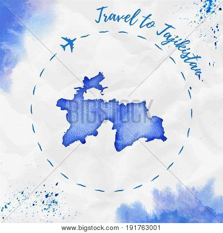Tajikistan Watercolor Map In Blue Colors. Travel To Tajikistan Poster With Airplane Trace And Handpa
