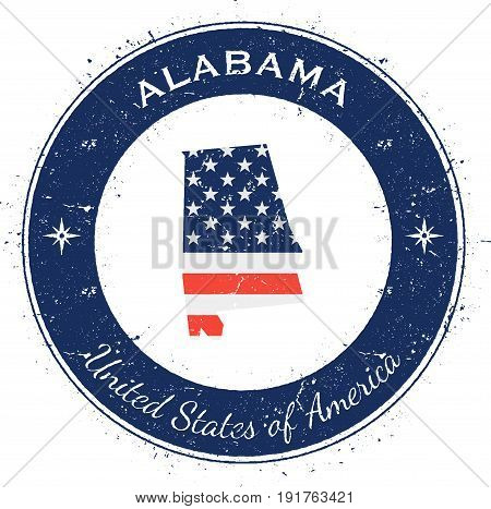Alabama Circular Patriotic Badge. Grunge Rubber Stamp With Usa State Flag, Map And The Alabama Writt