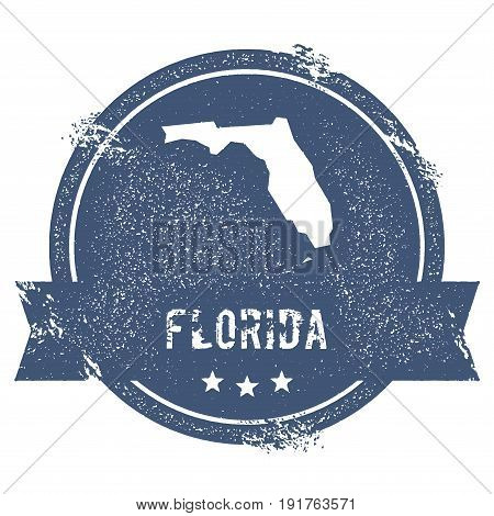 Florida Mark. Travel Rubber Stamp With The Name And Map Of Florida, Vector Illustration. Can Be Used