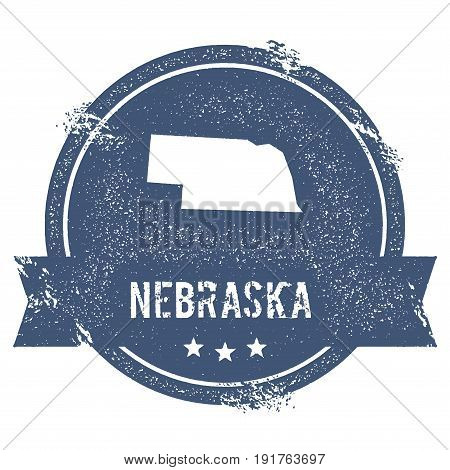Nebraska Mark. Travel Rubber Stamp With The Name And Map Of Nebraska, Vector Illustration. Can Be Us