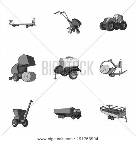 Set of pictures about agricultural machinery. Cars to robots to the ground.Agricultural Machinery icon in set collection on monochrome style vector symbol stock web illustration.