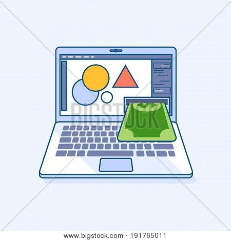 Flat line illustration of freelance designer income earnings online work laptop or notebook atm cash machine gives money dollar cash banknote. Digital banking eCommerce business finance concept