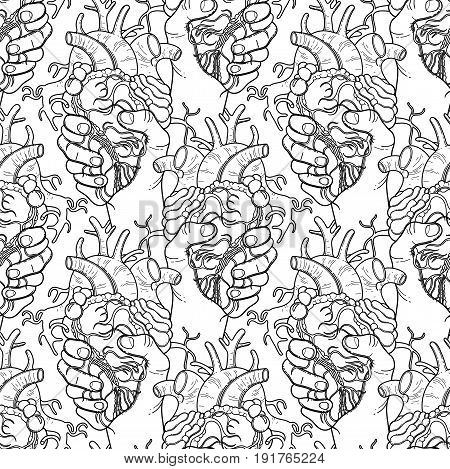 Graphic hands grasping human heart. Vector seamless pattern. Coloring book page design for adults and kids poster