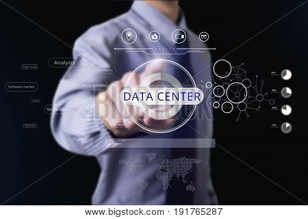 Businessman touching data center. concept information backup.