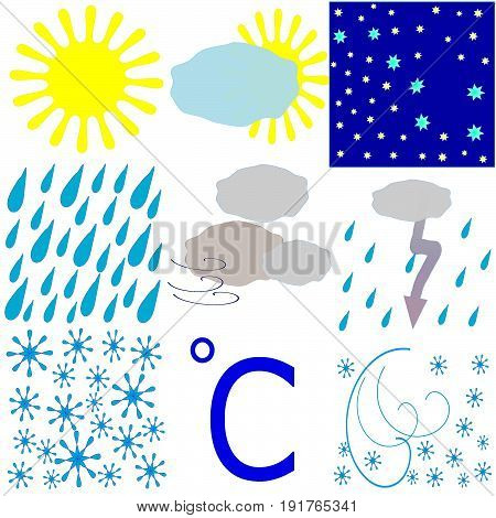 Set of weather icons, times of day. Sunny, overcast, rain, snow, thunderstorm, snowstorm, day, night