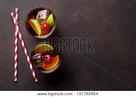 Cuba libre cocktail glasses. Top view with copy space