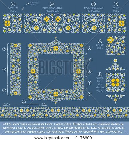 Flower Decorative building blocks to create Ornament compositions. EPS-10 all elements neatly on well-defined layers and groups. Easy to edit colors via Global Color.