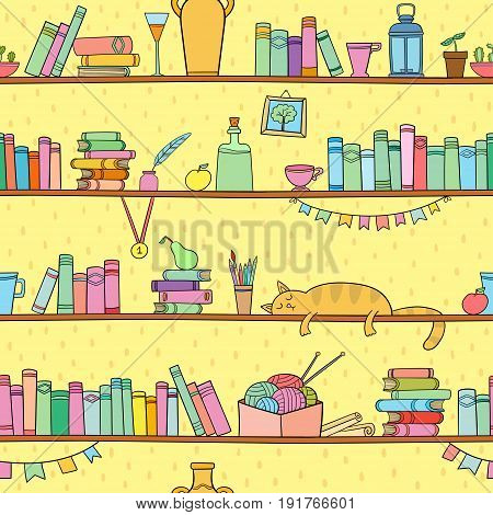 Books, cat and other things on the shelves. Vector seamless pattern. Color graphic objects for decorations, background, textures or interior wallpaper.