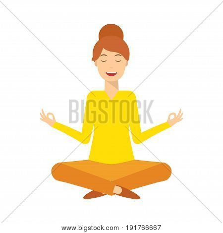 Yoga smiling young woman in lotus meditative pose. Woman meditating and relaxing.