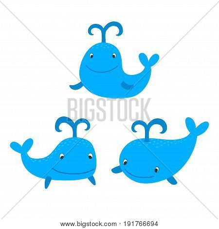 Set of cute cartoon blue whales isolated in white in vector.
