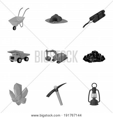 Set of icons about the mine. The extraction of coal, minerals, protection of the miners. Processing of coal.Mine industral icon in set collection on monochrome style vector symbol stock web illustration.