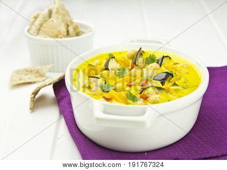 Aga saga curry with butternut, aubergine chickpeas