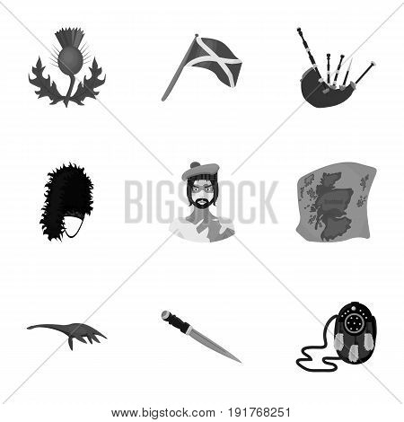 National symbols of Scotland. Scottish attractions. Scotland country icon in set collection on monochrome style vector symbol stock web illustration.
