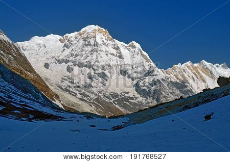 Snowy Mountain Landscape in Himalaya. Annapurna South peak, Nepal, Annapurna Base Camp Track.