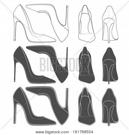 Set of images of female shoes on the heel. Isolated vector objects on white background.
