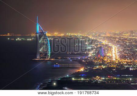 Dubai, Uae - Mar 18, 2014: Jumeirah Beach View With 7 Star Hotel Burj Al Arab, Dubai, United Arab Em
