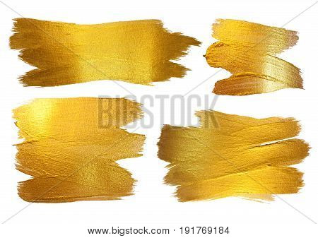 Gold Watercolor Texture Paint Stain Abstract Illustration. Shining Brush Stroke Set for you Amazing Design Project. White background