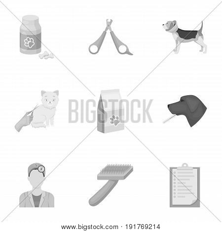 Vet clinic. Treatment of sick animals. Hospital for animals.Vet clinic icon in set collection on monochrome style vector symbol stock web illustration.