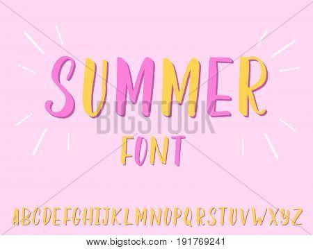 Handwritten lettering Summer font. Summer typeface of bold brush letters